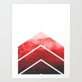 Red Ombre Chevron Art Print