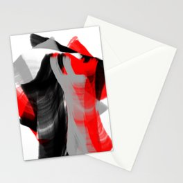 dancing abstract red white black grey digital art Stationery Cards