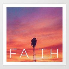 Palm Tree Faith - Sunset Art Print