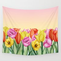 tulips Wall Tapestries featuring Tulips by Julia Badeeva