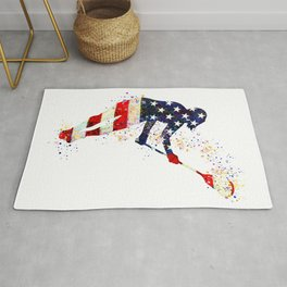 Girl Lacrosse Art American Flag Colorful Watercolor Sports Art Rug