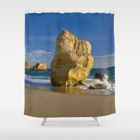 portugal Shower Curtains featuring Rock formations, Albufeira, Portugal by Michael Howard