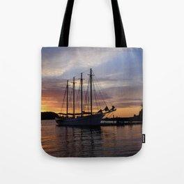 Schooner at sun rise Tote Bag