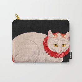 Shotei Takahashi White Cat In Red Outfit Black Background Vintage Japanese Woodblock Print Carry-All Pouch