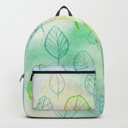 Green leaves on soft multicoloured (green, blue, yellow, pink) watercolor background Backpack