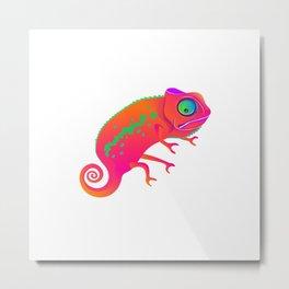 Chameleon. Cheerful bright Chameleon. Metal Print