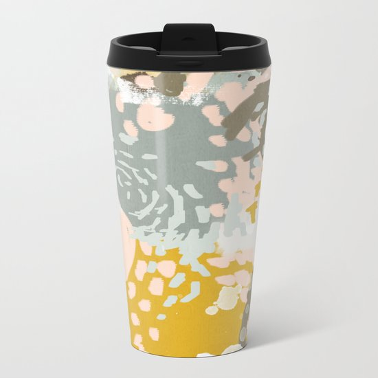 Hutton - Modern abstract painting for home decor and cell phone cases in gold grey mint white Metal Travel Mug