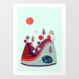 BLUE PURPLE HILL Art Print