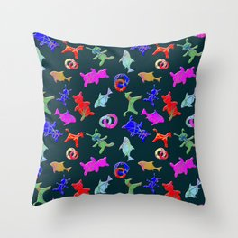 Children's toys, bears, horses, fish, bunnies of different colors on a dark background. Throw Pillow