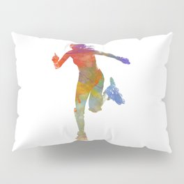 Woman in roller skates 12 in watercolor Pillow Sham