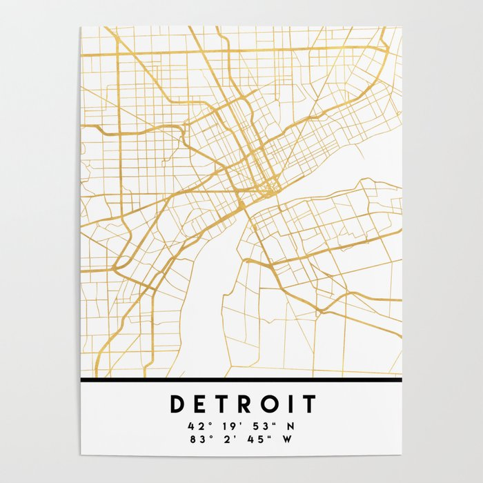 Detroit Michigan City Street Map Art Poster By Deificusart Society6