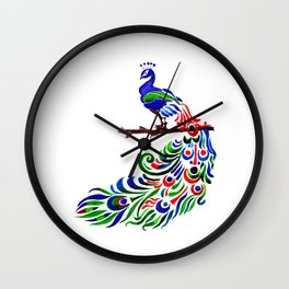 Peacock watercolor art, Bird watercolor bird art, illustration print, bird art Wall Clock