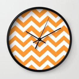 Deep saffron - orange color -  Zigzag Chevron Pattern Wall Clock