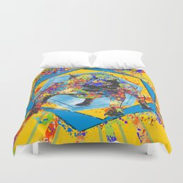 American Bully Abstract Mixed Media Duvet Cover