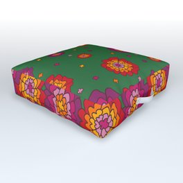 Retro Blooming Outdoor Floor Cushion
