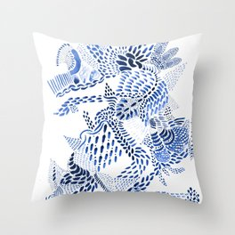 blue dragon on white Throw Pillow