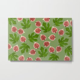 Figs and Fig Leaves green Metal Print