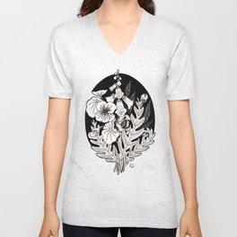Flowers in Black and White Unisex V-Neck