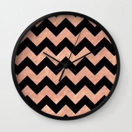 Chevron Pattern Rose Gold Wall Clock
