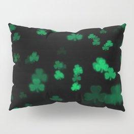 Green Bokeh Shamrocks Pillow Sham