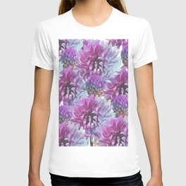 Neon pink lilac lavender watercolor hand painted flowers T-shirt