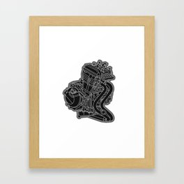 riding with one cylinder engine motorcycle Framed Art Print