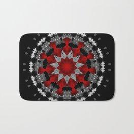 Bright Red Silver Star Flower Mandala Bath Mat