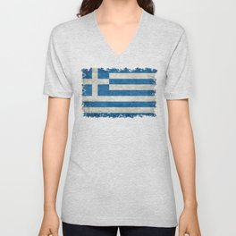 Flag of Greece, vintage retro style Unisex V-Neck