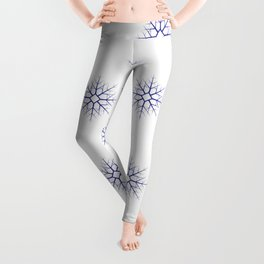 Seamless pattern with blue snowflakes on white background Leggings