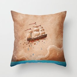 Fantastic Voyage - Flying Ship Throw Pillow