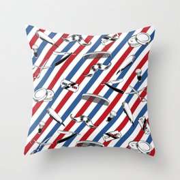 Barber Shop Pattern Throw Pillow