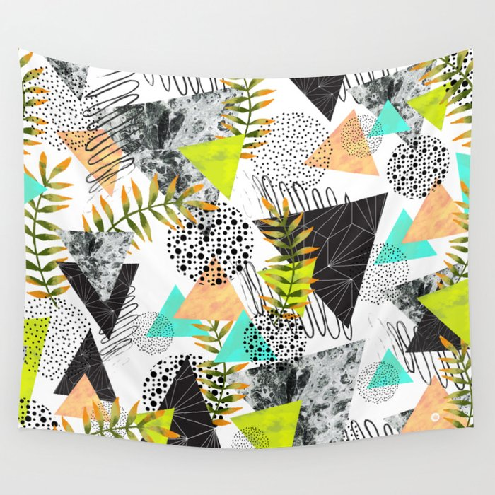 Triangles and plants Wall Tapestry