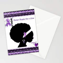 Power Purple For a Cure - Thinking Of You Stationery Cards