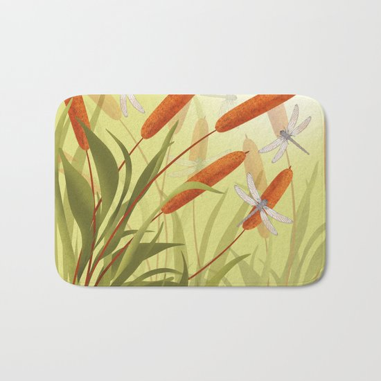 the reeds and dragonflies on the rising sun background Bath Mat