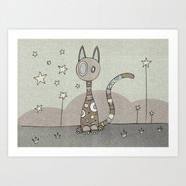 Brown Night-Cat Art Print