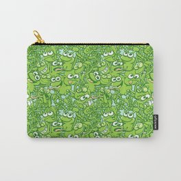 Funny green frogs entangled in a messy pattern Carry-All Pouch