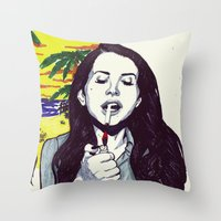 ultraviolence Throw Pillows featuring The Sad Girl by Robert Red ART