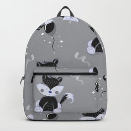 Happy Birthday Black Fox Grey Background Pattern Backpack