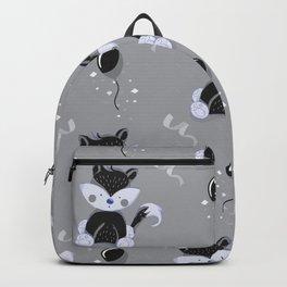 Happy Birthday Black Fox Grey Background Pattern Backpack