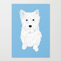 westie Canvas Prints featuring Westie by Julie Gough