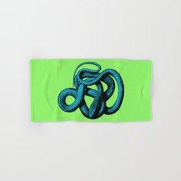 Snek 1 Snake Teal Turquoise Lime Green Hand & Bath Towel