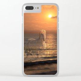 Sea Horses, Soul Mates, Running Horses, Spirits of the Sea Clear iPhone Case