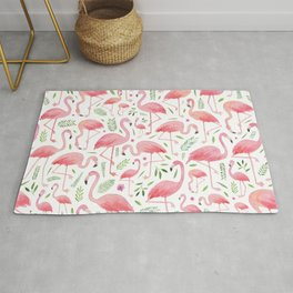 Flamingo Floral Pattern! Rug