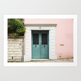 Pink House with Teal Door in Montmartre Art Print