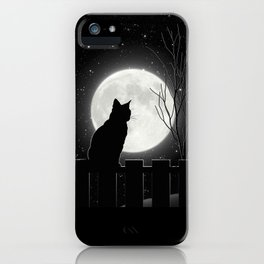 Silent Night Cat and full moon iPhone Case