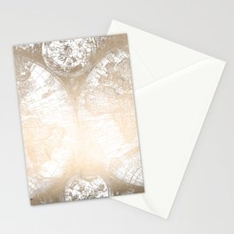 Antique White Gold World Map Stationery Cards
