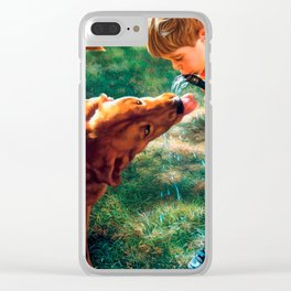 A Boy and his Dog Water Hose Thirst Colorful Clear iPhone Case