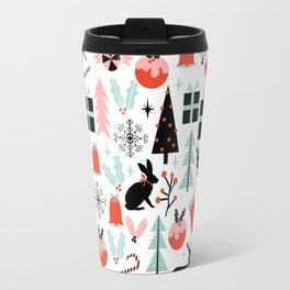 Christmas ornaments minimal holly reindeer candy cane christmas tree pattern print Travel Mug