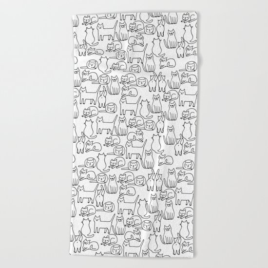 Funny sketchy white kitty cats Beach Towel