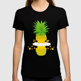 Fruit Cool Pineapple Graphic T-shirt Cutted Half Spin Smoking Cool Cute Design For You And Family T-shirt